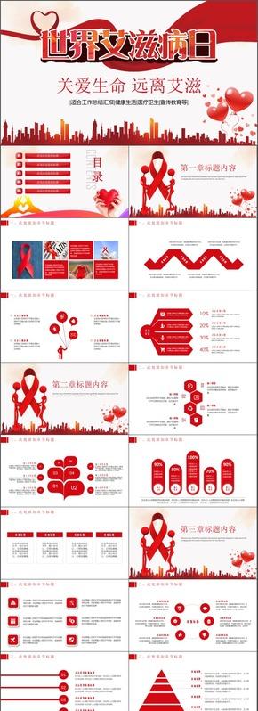 世界艾滋病医疗医学商务汇报企业策划ppt模板工作总结汇报商业计划ppt模板