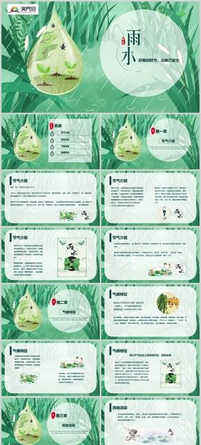 绿色卡通元素雨水节气介绍PPT模板