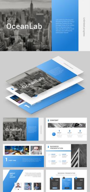【商务】时尚蓝色动态商务高端图文PPT模板