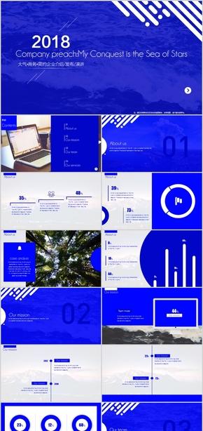 蓝色大气商务实用企业介绍宣讲总结发布会PPT模板