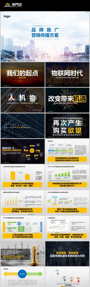 藍綠黃紅智慧家電年度營銷方案模板