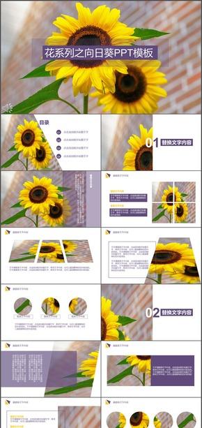 黄紫花系列之向日葵PPT模板