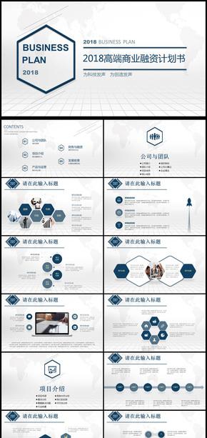 2018年高端商业融资计划书PPT动态模板