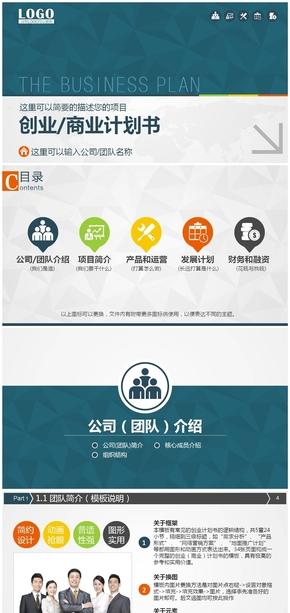 实用创业商业计划书PPT模板