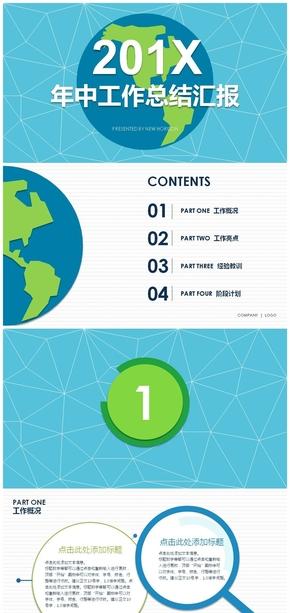 2018地球环球旅行保护环境动态工作总结汇报PPT模板