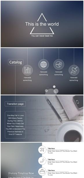 细线条苹果IOS风PPT模板