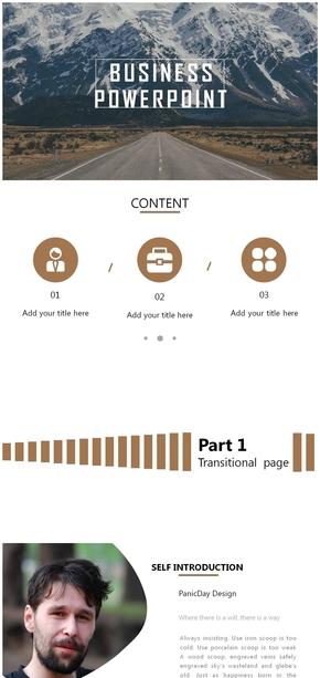 简洁商务图文排版PPT模板下载