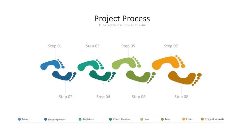 创意脚印步骤流程图ppt图形(共1页)图片