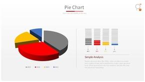 立体分离式PPT饼状图模板(共1页)