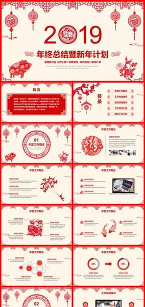 紅色喜慶中國風年終工作匯報新年工作總結新年計劃工作計劃述職報告