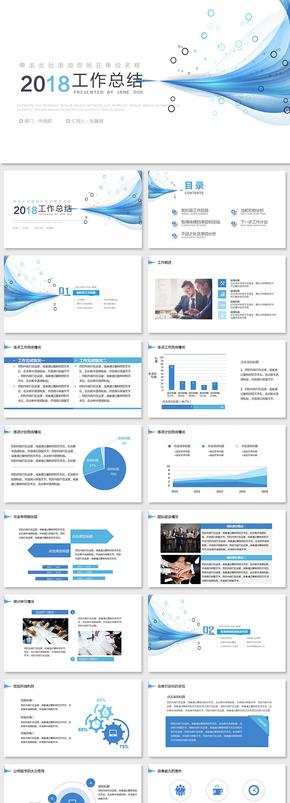 大气简约工作总结工作报告年中总结述职报告季度总结报告
