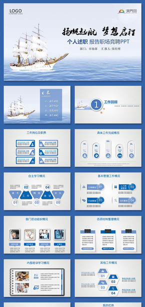 创意蓝色微粒体帆船扬帆起航年终述职报告年终工作汇报工作总结年终报告年终总结工作计划