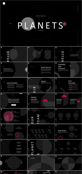 纯黑点红科技IT模板