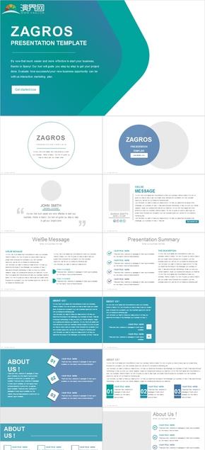 欧美画册杂志风格商务总结计划汇报演示PPT模板