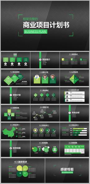 完整专业商业项目融资计划书PPT模版 创业 BP