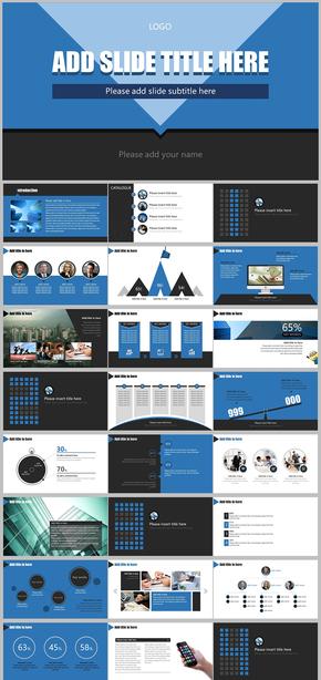 简约蓝色大气欧美商务企业宣传工作总结科技互联网通用PPT模版