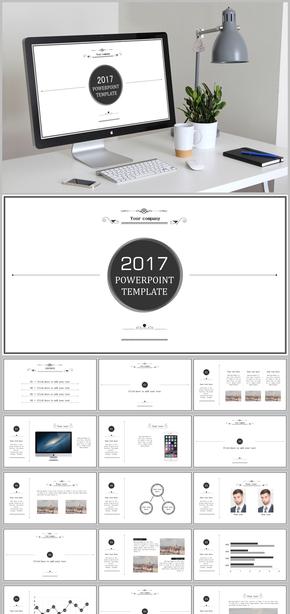 【精品推荐】极简洁白色欧式商务PPT模板、创业融资、工作总结