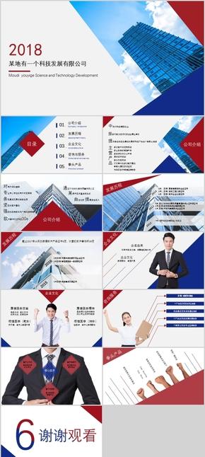 红蓝风格斜线风格IT公司介绍