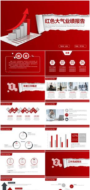 红色大气商务工作业绩报告总结计划通用PPT模板
