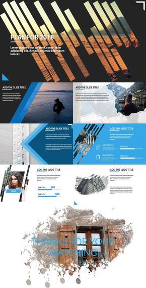 蓝色商务线条图片排版