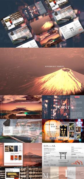 旅游|风景类|富士山主题|日式|PPT模板