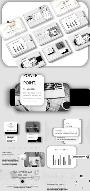 商务风|UI视觉|黑白配色|简约|杂志风|iOS风|PPT模板
