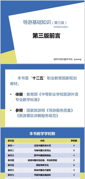 蓝 黄 极简中职导游基础第三版前言PPT