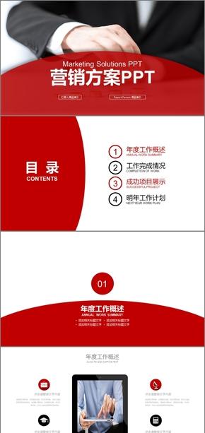 红色简约商务营销执行方案策划PPT品牌营销企业营销策划方案市场营销品牌策划方案PPT模板