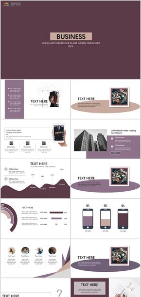 2019紫色高级商务商业企业多用工作汇报模板
