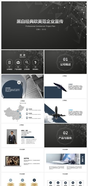 炫酷黑色欧美风企业宣传产品介绍ppt模板