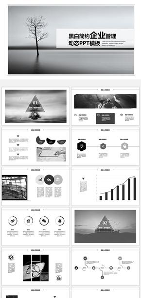 黑白简约企业管理动态PPT模板