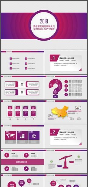 紫色渐变商务高端大气实用商务汇报PPT模版
