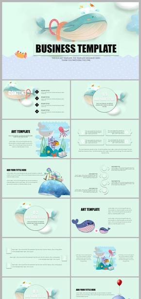 卡通海豚海洋儿童教育教学幼儿园教学ppt课件