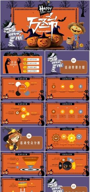 高端动态橙色欧美节日万圣节节日庆典聚会PPT模板