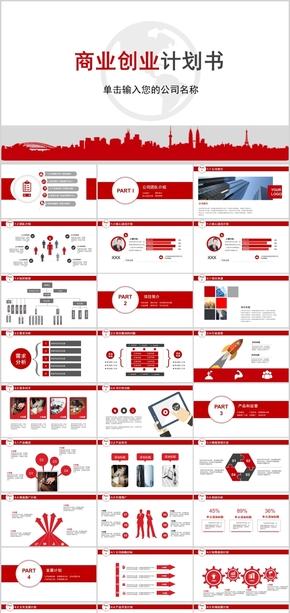 简约红灰商业创业计划书PPT模板企业介绍PPT