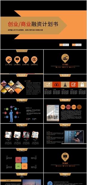 黑色简约商业计划书创业融资计划书PPT模版