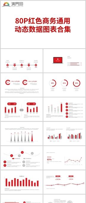 80P红色商务通用 动态数据图表合集