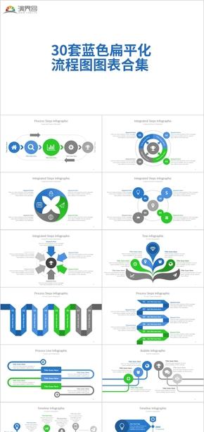 30套蓝色扁平化 流程图图表合集