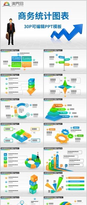 30P可編輯商務統計圖表PPT模板