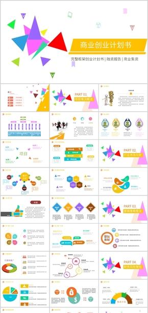 彩色简约商业创业计划书PPT模版