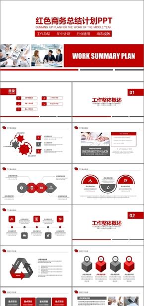 红色商务总结计划商业计划书企业业务总结计划年度计划总结工作总结工作汇报年终总结年终汇报计划总结