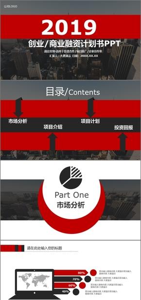 红色时尚大气商业计划书商业创业融资商业计划书PPT模板商业计划书互联网商业