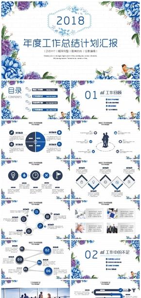 【框架完整】蓝色清新唯美年度总结汇报新年2018工作计划培训述职PPT