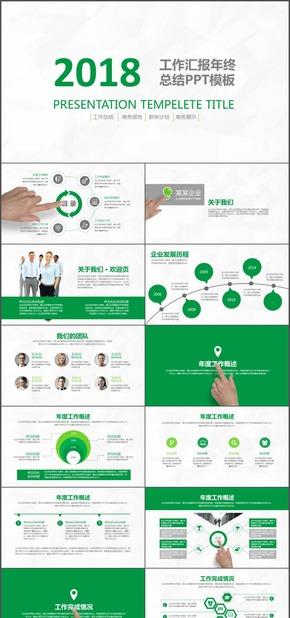绿色环保工作总结时尚动态ppt模板