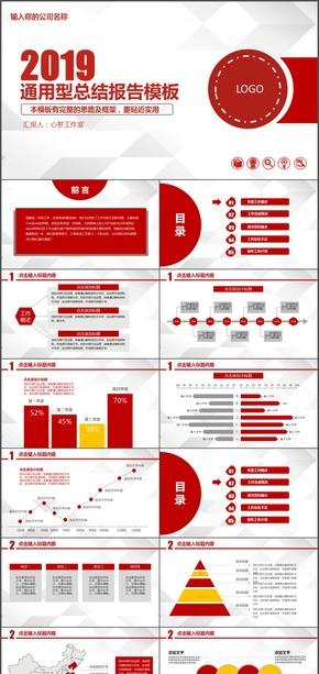 通用型总结报告模板公司介绍 红红色气势ppt模板