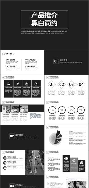 项目策划产品推介 黑白简约PPT模板