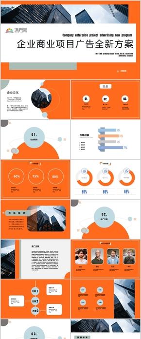 橙色几何商业项目广告方案展示总结汇报PPT