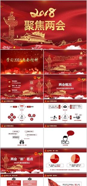 【党政、国会】大气红色聚焦2018全国两会PPT模板