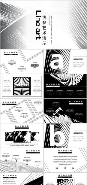 【总结、计划】黑白线条艺术简约演示