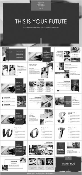 黑色简约商务杂志风欧美风画册PPT模板